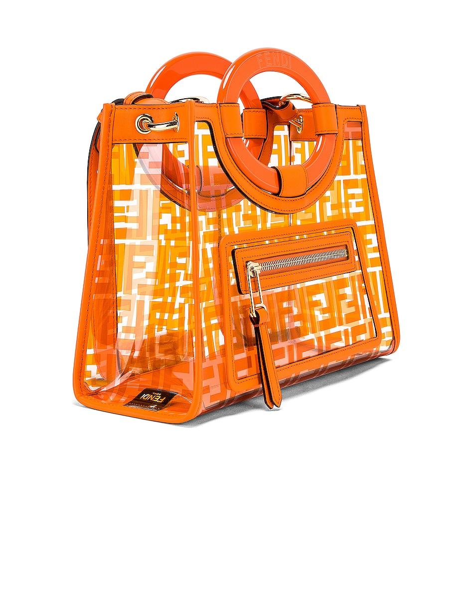Image 4 of Fendi Mini Runaway Shopping Logo Tote in Orange