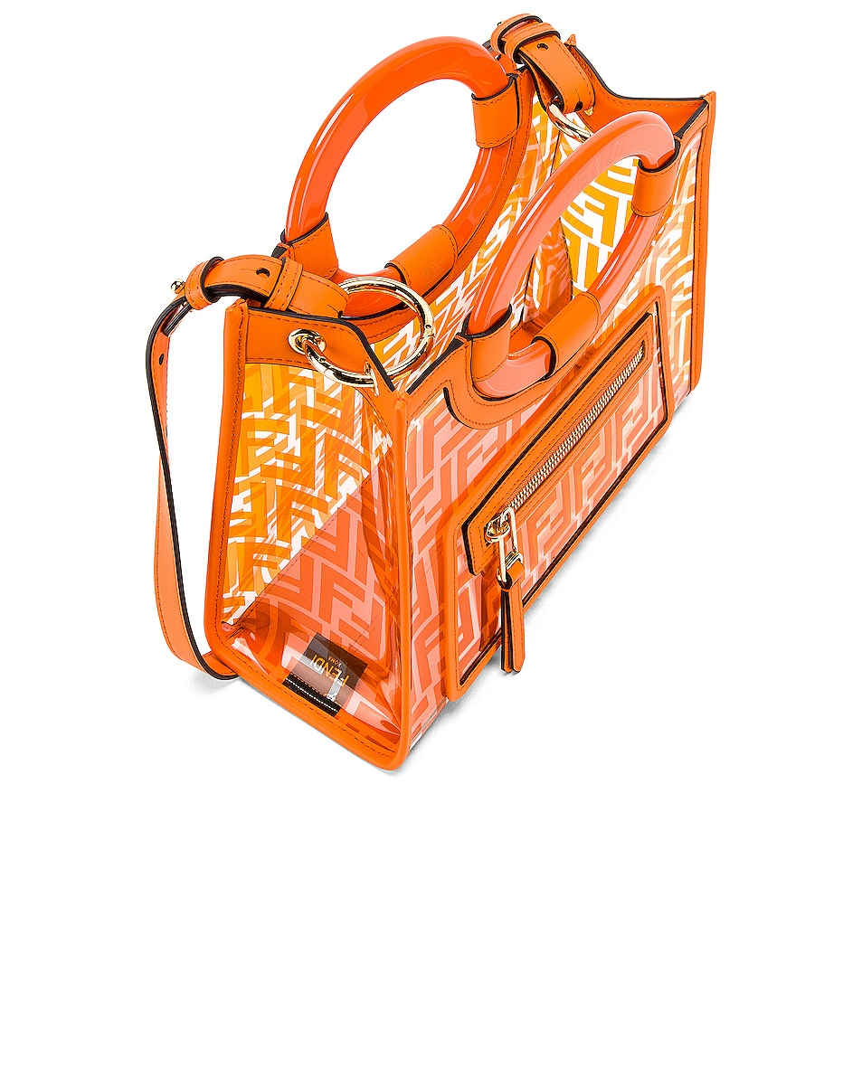 Image 5 of Fendi Mini Runaway Shopping Logo Tote in Orange