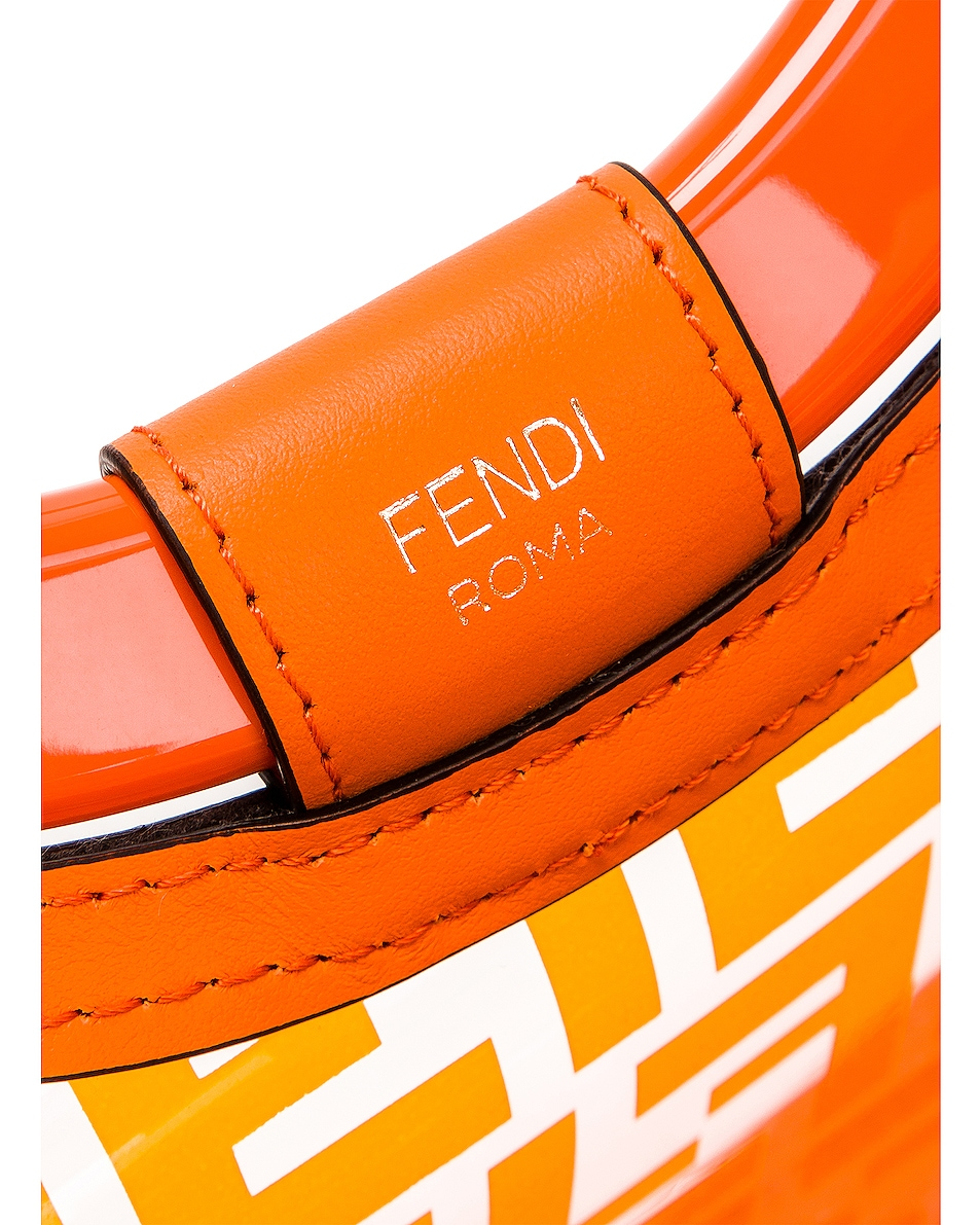 Image 7 of Fendi Mini Runaway Shopping Logo Tote in Orange