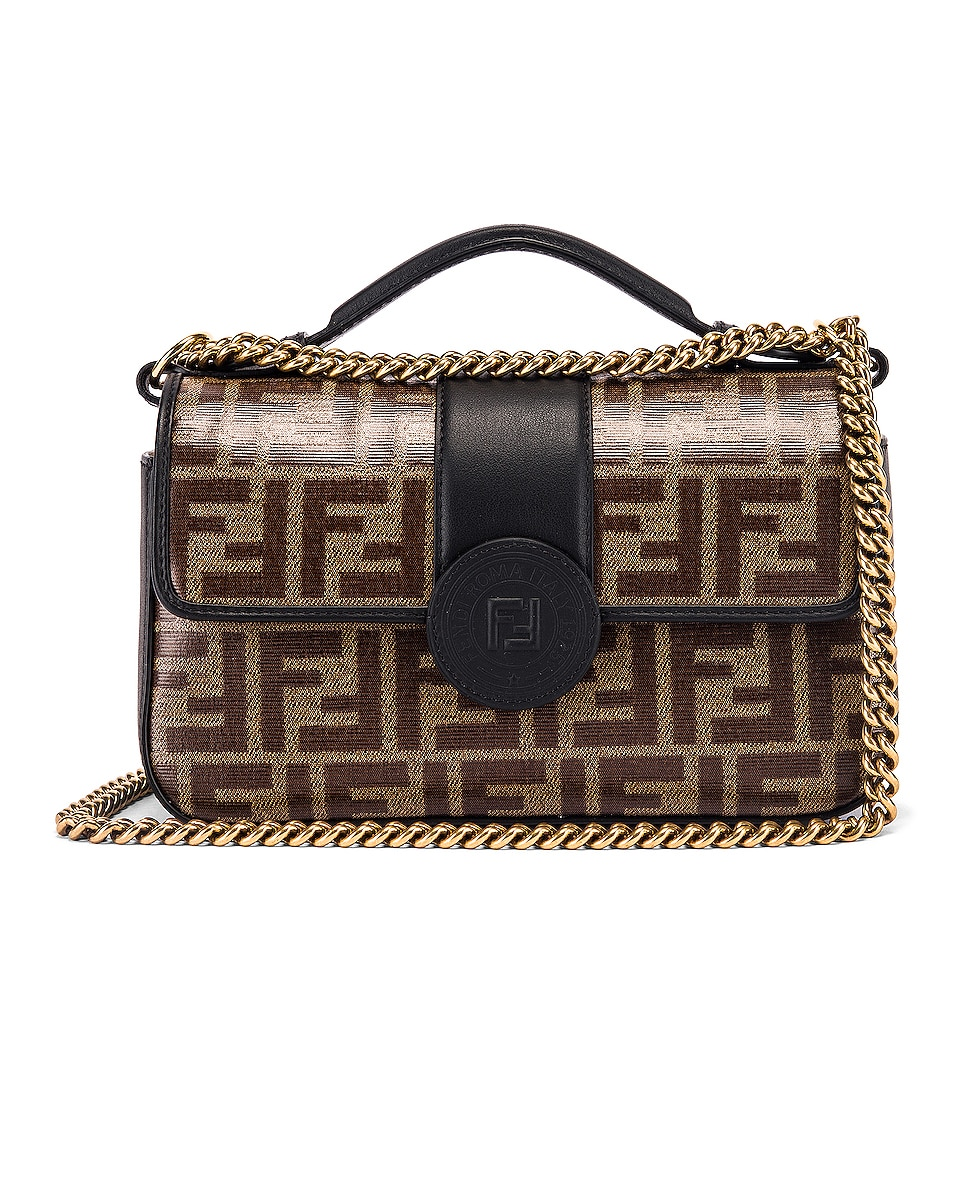 Image 1 of Fendi Small Double F Shoulder Bag in Black