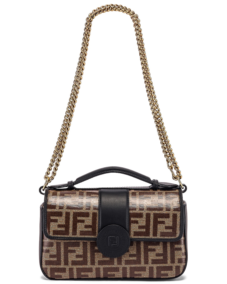 Image 5 of Fendi Small Double F Shoulder Bag in Black