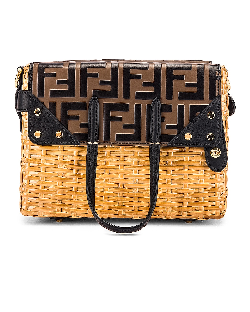 Image 3 of Fendi Mini Flip Crossbody Bag in Black & Natural