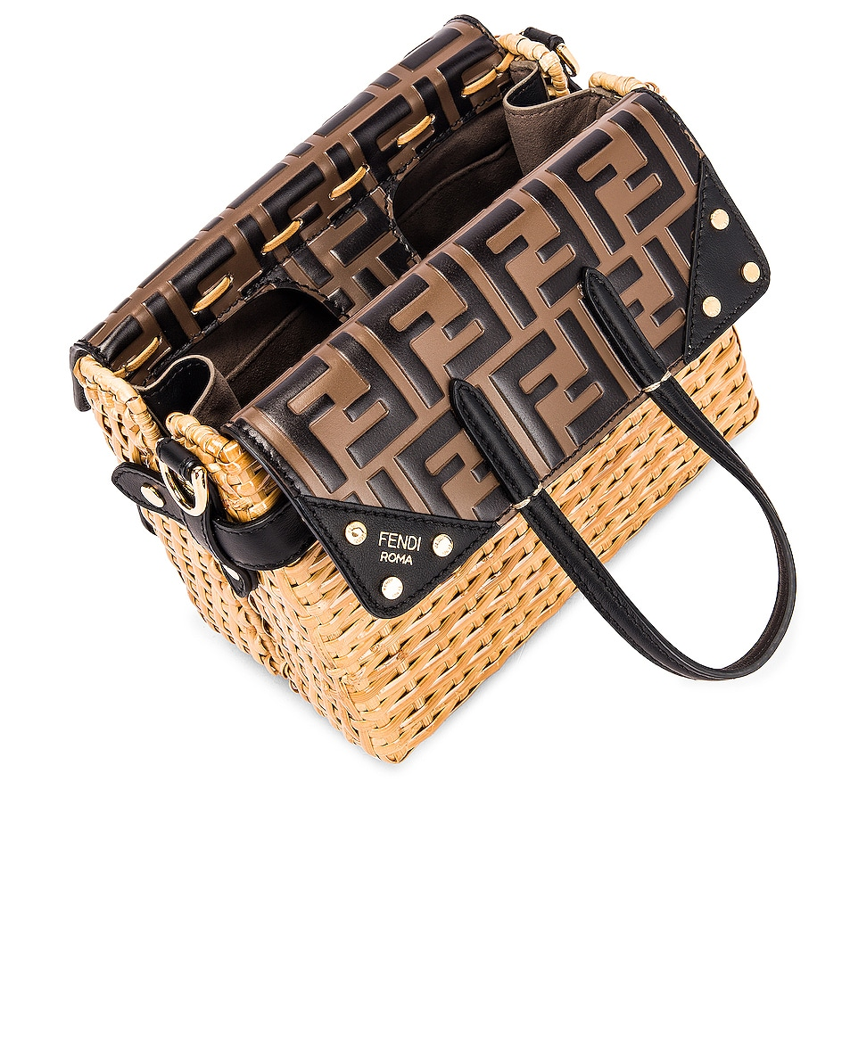 Image 5 of Fendi Mini Flip Crossbody Bag in Black & Natural