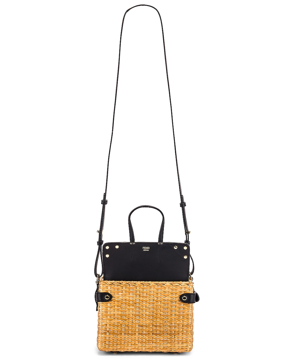 Image 6 of Fendi Mini Flip Crossbody Bag in Black & Natural