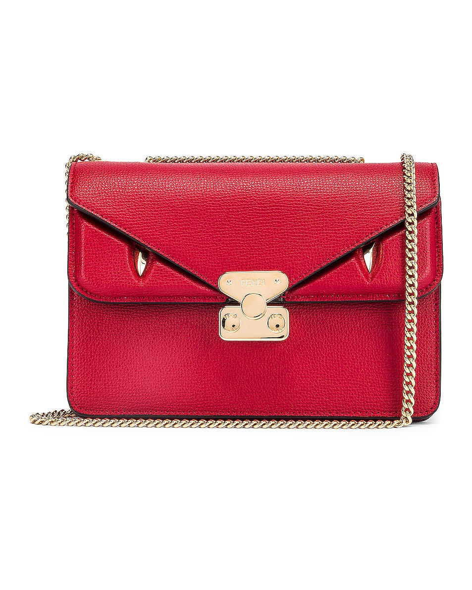 Image 1 of Fendi Chain Bug Bag in Strawberry & Tobacco