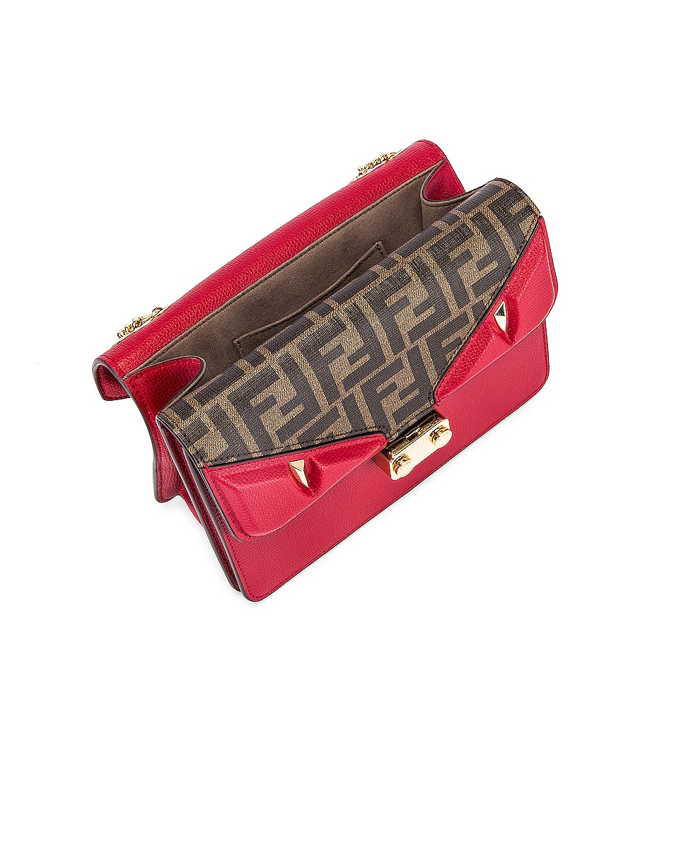 Image 5 of Fendi Chain Bug Bag in Strawberry & Tobacco