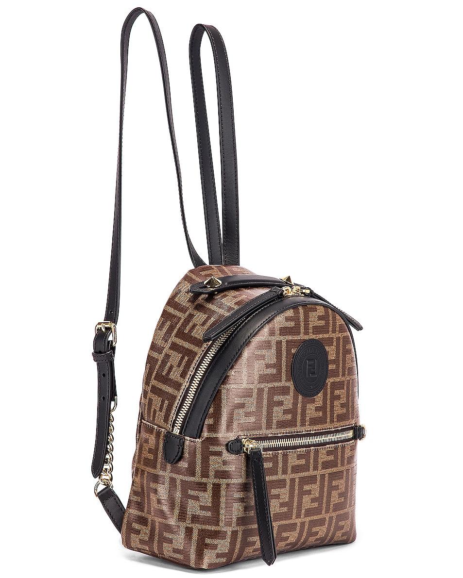 Image 4 of Fendi Mini Logo Backpack in Black