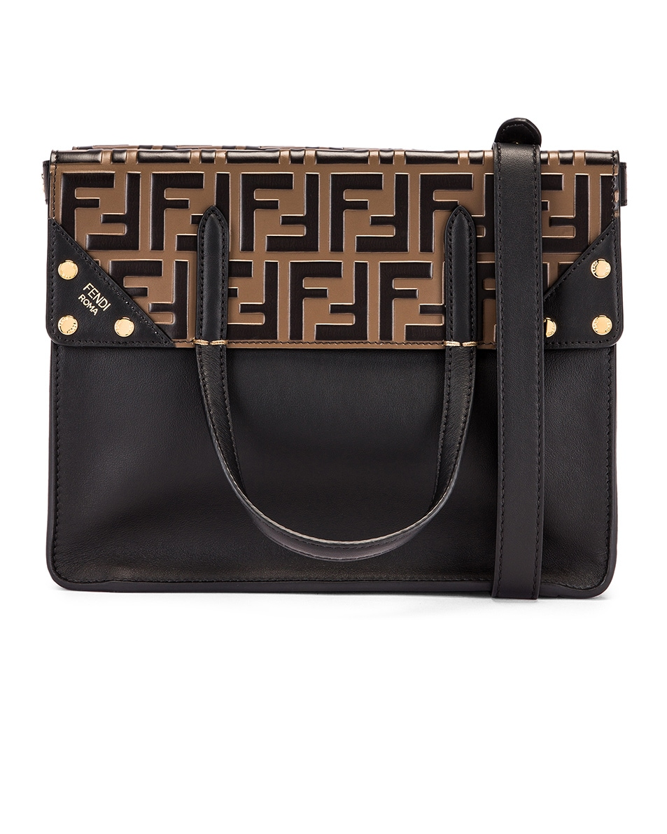 Image 1 of Fendi Small Flip Crossbody Bag in Black