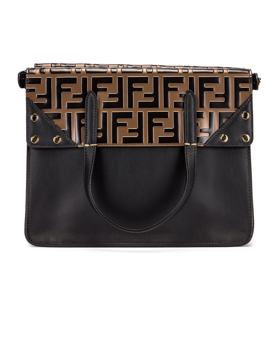 Image 3 of Fendi Small Flip Crossbody Bag in Black