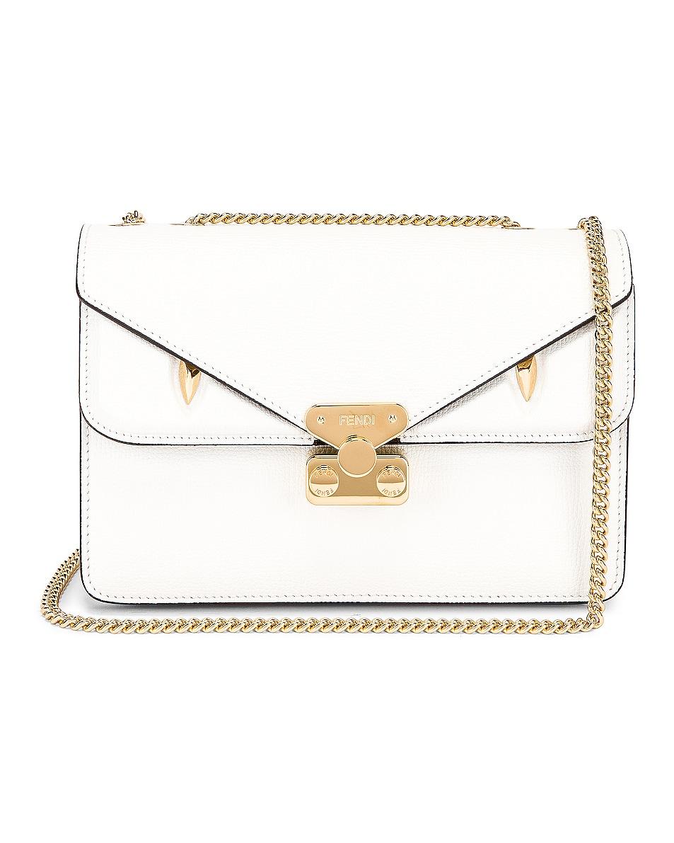 Image 1 of Fendi Chain Bug Bag in White & Tobacco
