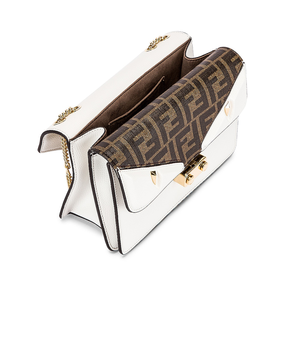 Image 5 of Fendi Chain Bug Bag in White & Tobacco
