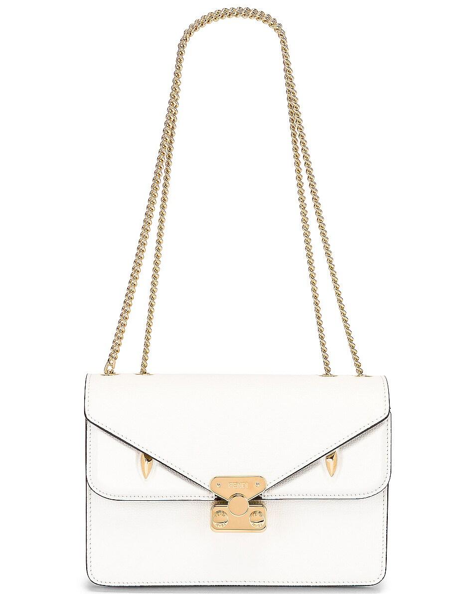 Image 6 of Fendi Chain Bug Bag in White & Tobacco
