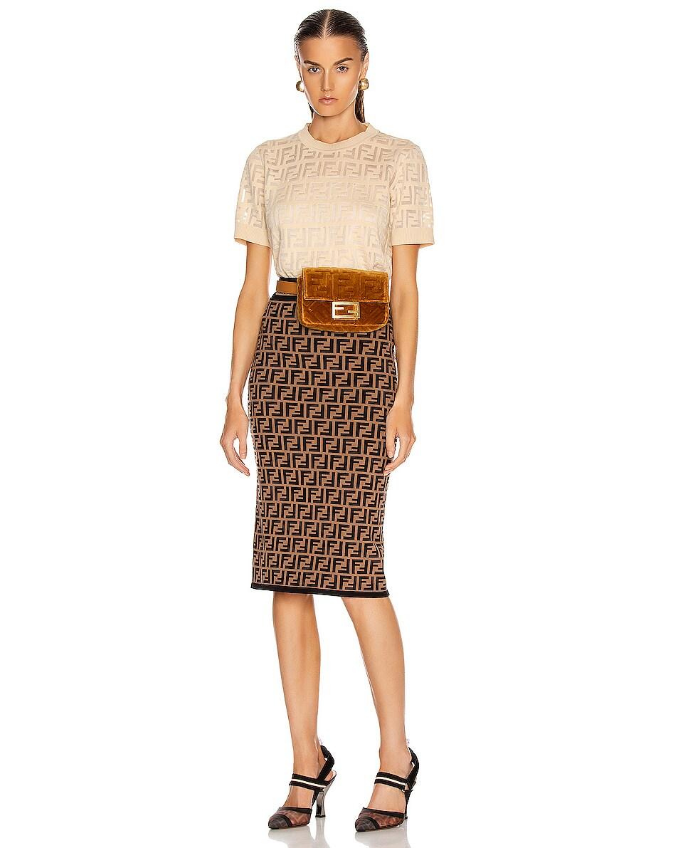 Image 2 of Fendi FF Velvet Hip Belt Bag in Caramel