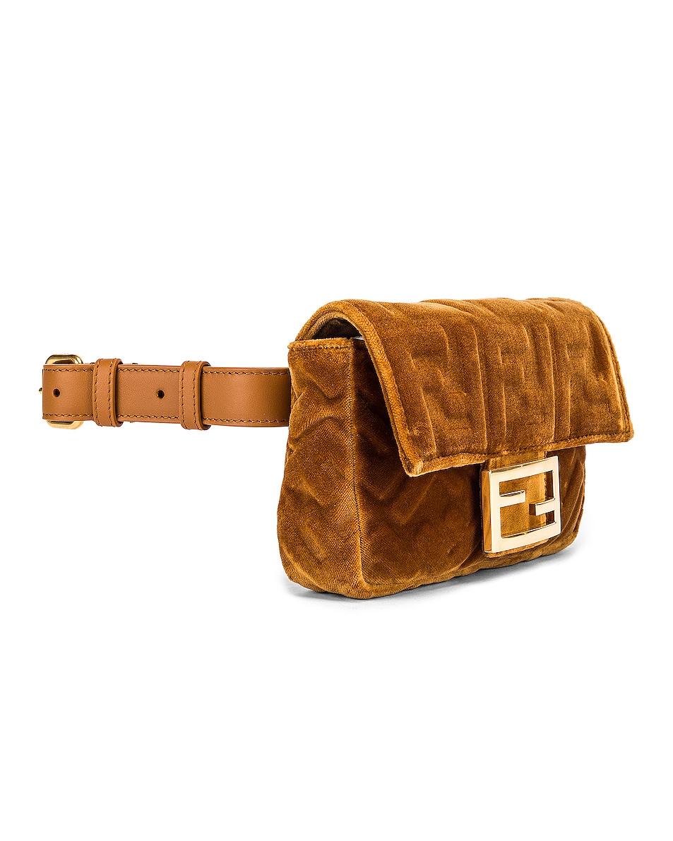 Image 4 of Fendi FF Velvet Hip Belt Bag in Caramel