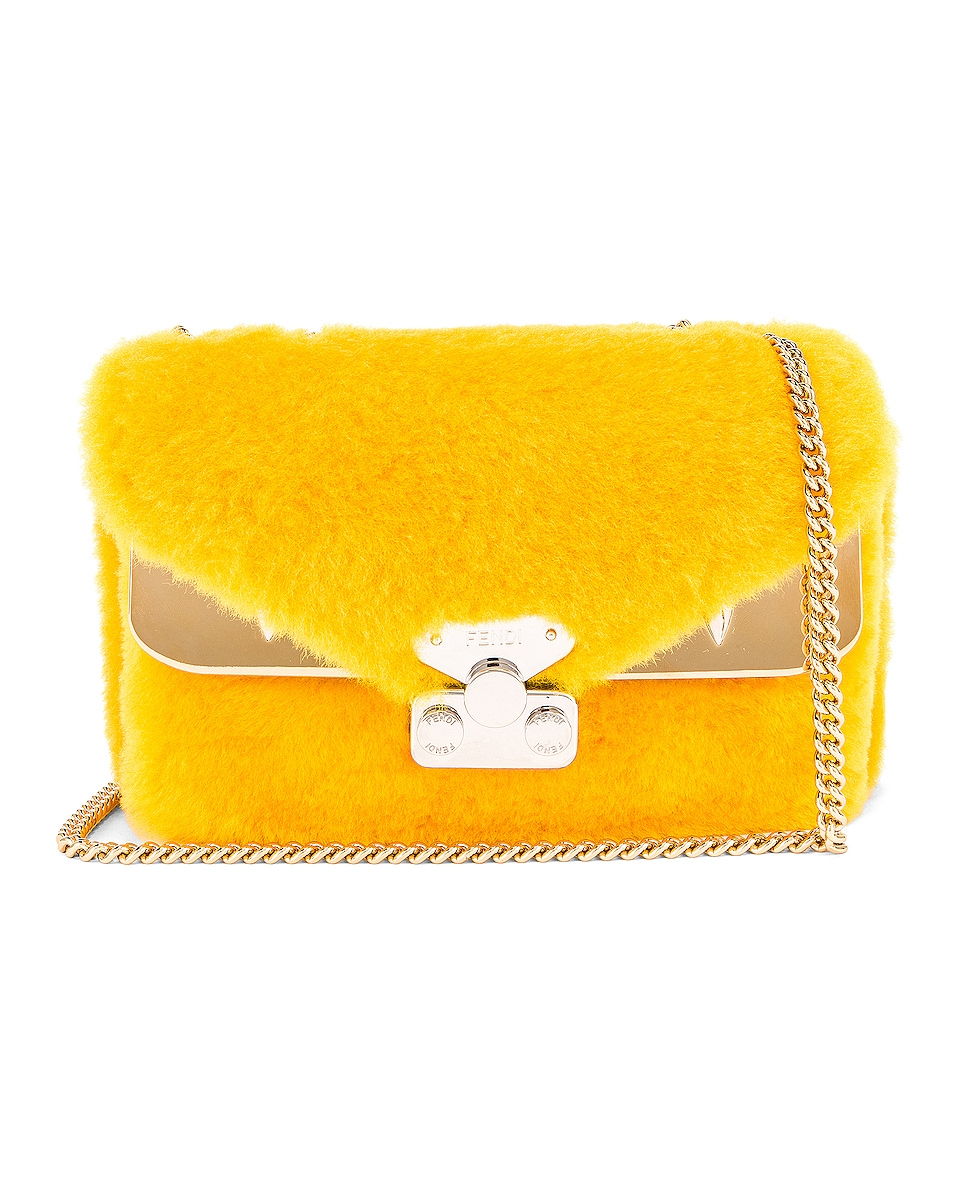 Image 1 of Fendi Small Shearling Bug Bag in Yellow