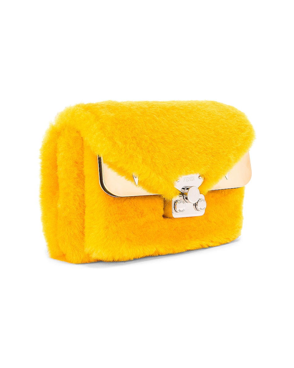 Image 4 of Fendi Small Shearling Bug Bag in Yellow