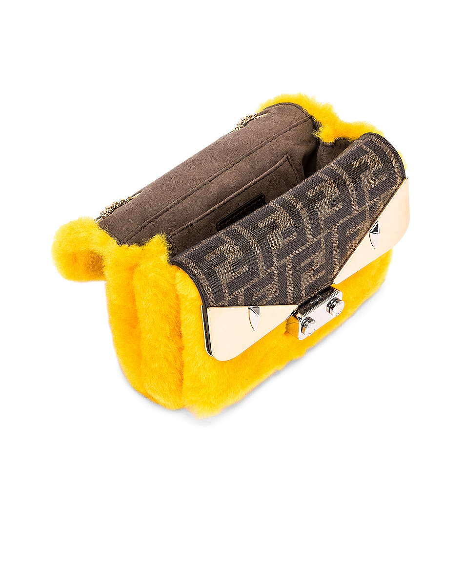 Image 5 of Fendi Small Shearling Bug Bag in Yellow