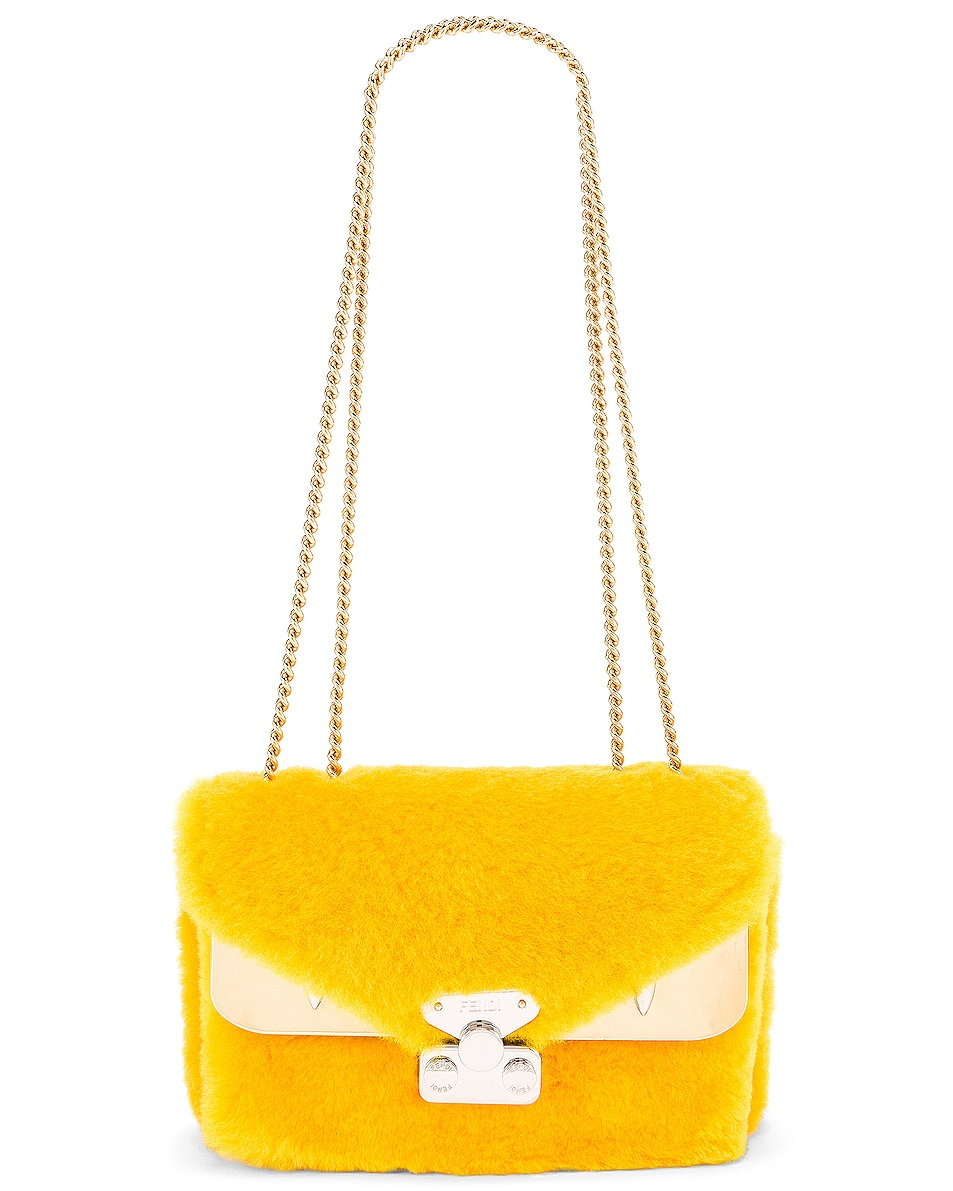Image 6 of Fendi Small Shearling Bug Bag in Yellow
