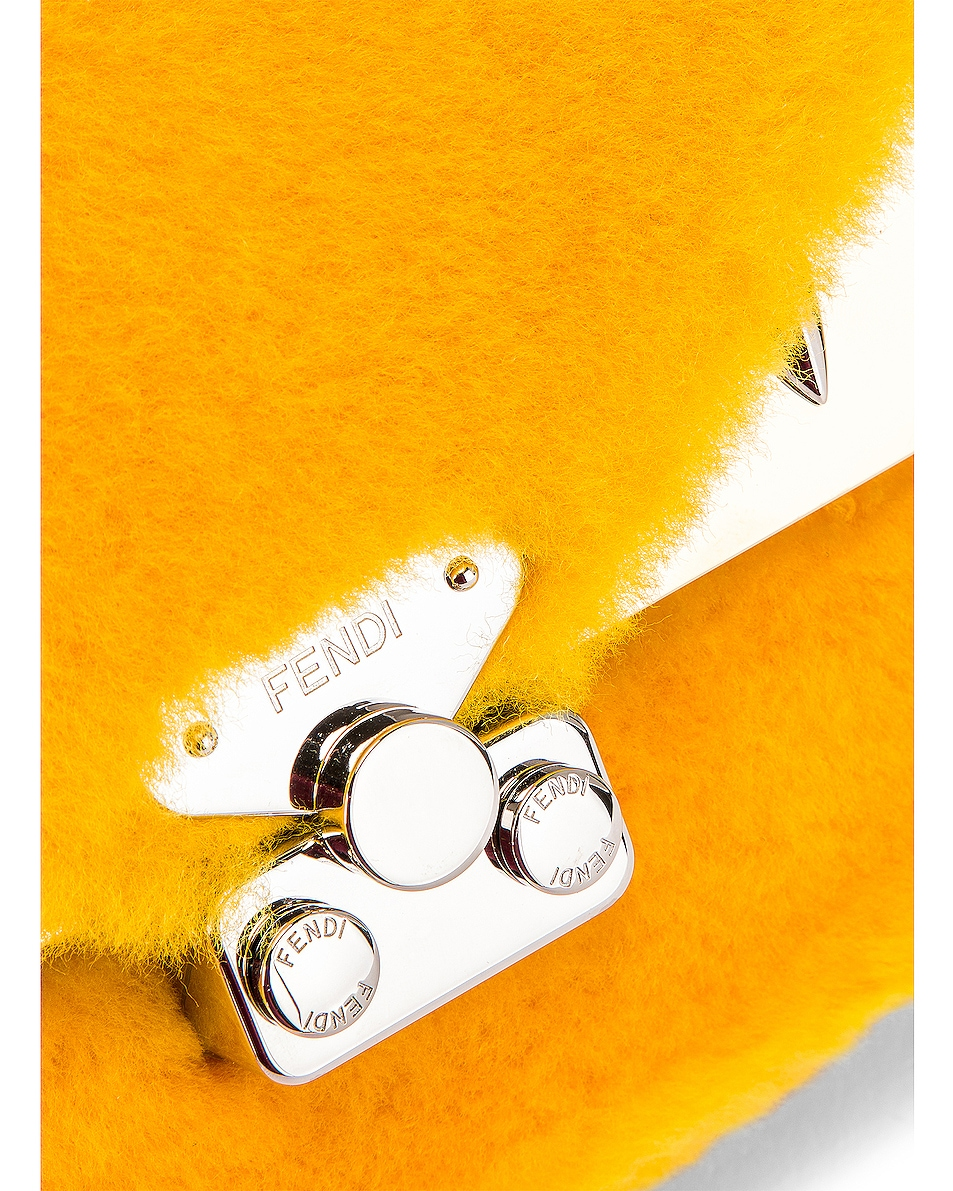 Image 8 of Fendi Small Shearling Bug Bag in Yellow