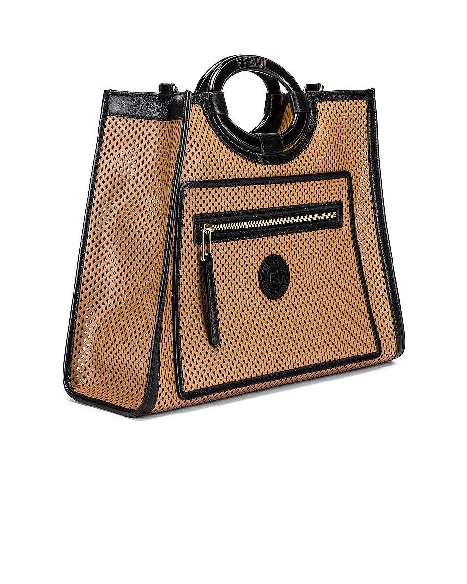 Image 3 of Fendi Medium Runaway Shopping Bag in Sand & Black