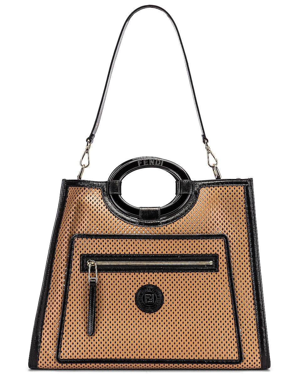 Image 5 of Fendi Medium Runaway Shopping Bag in Sand & Black