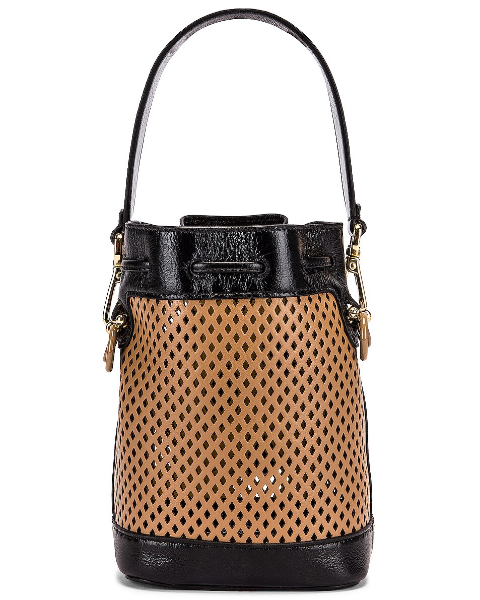 Image 2 of Fendi Mini Mon Tresor Bucket Bag in Sand & Black