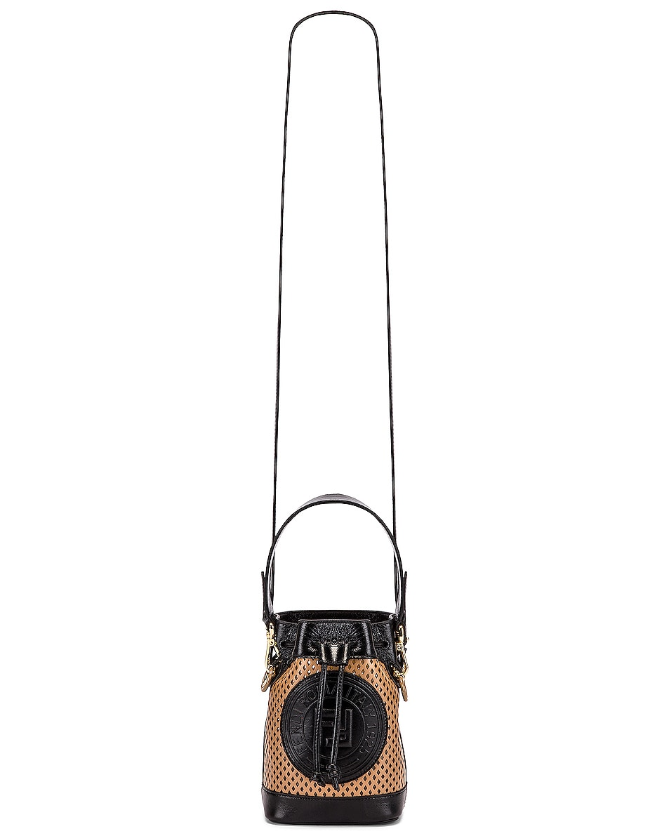 Image 5 of Fendi Mini Mon Tresor Bucket Bag in Sand & Black