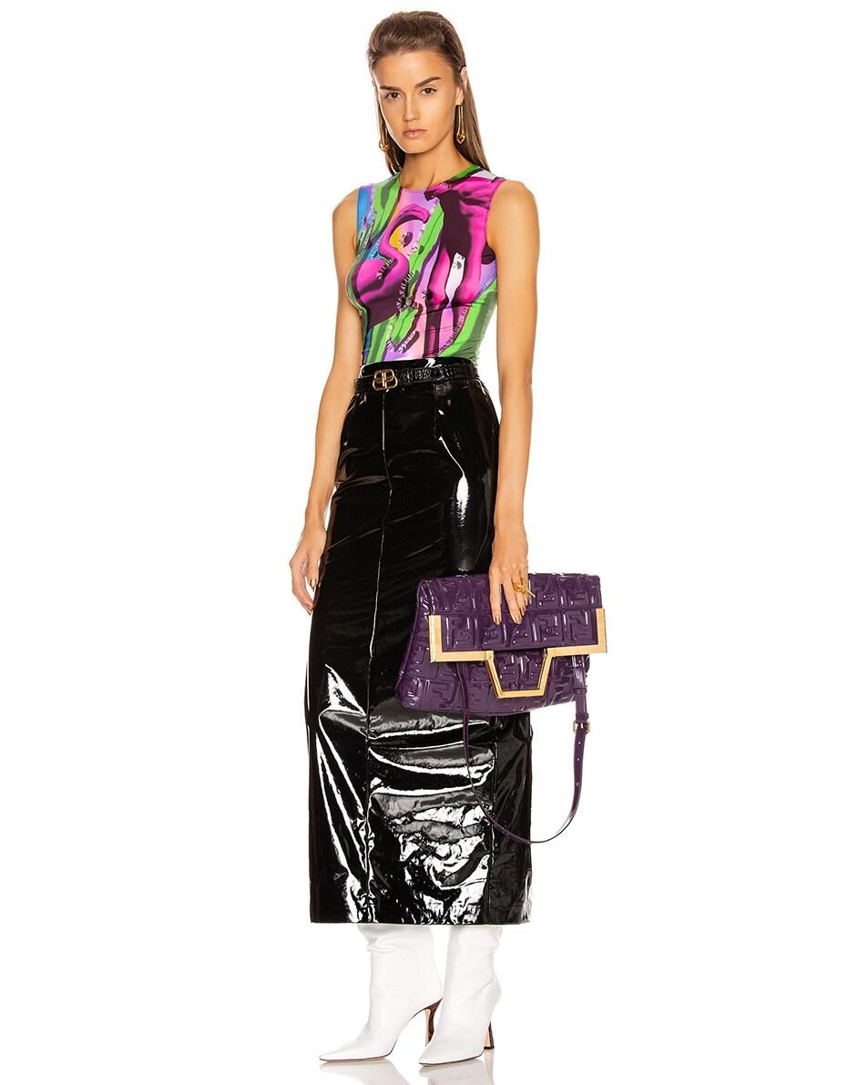 Image 2 of Fendi Regular Shopping Flap Bag in Purple & Gold