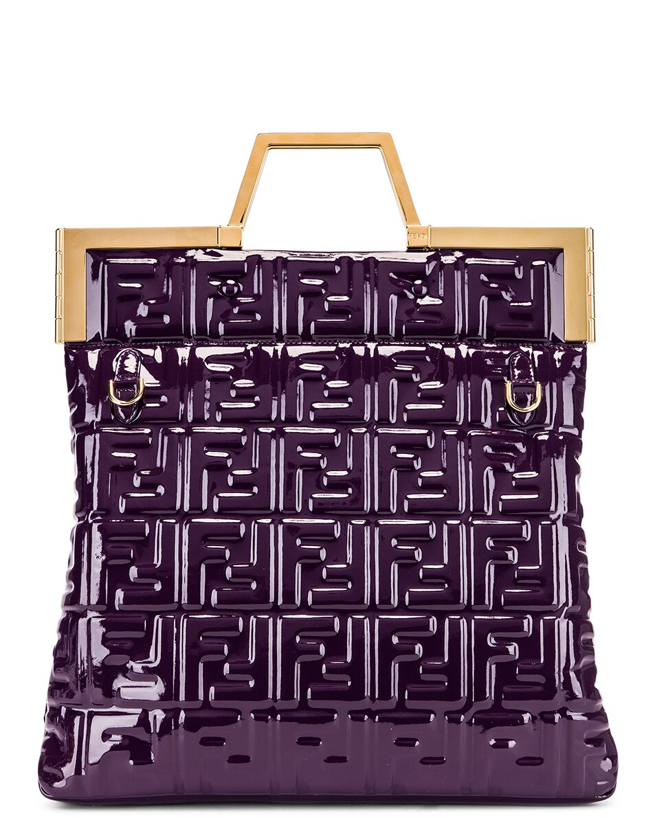 Image 3 of Fendi Regular Shopping Flap Bag in Purple & Gold