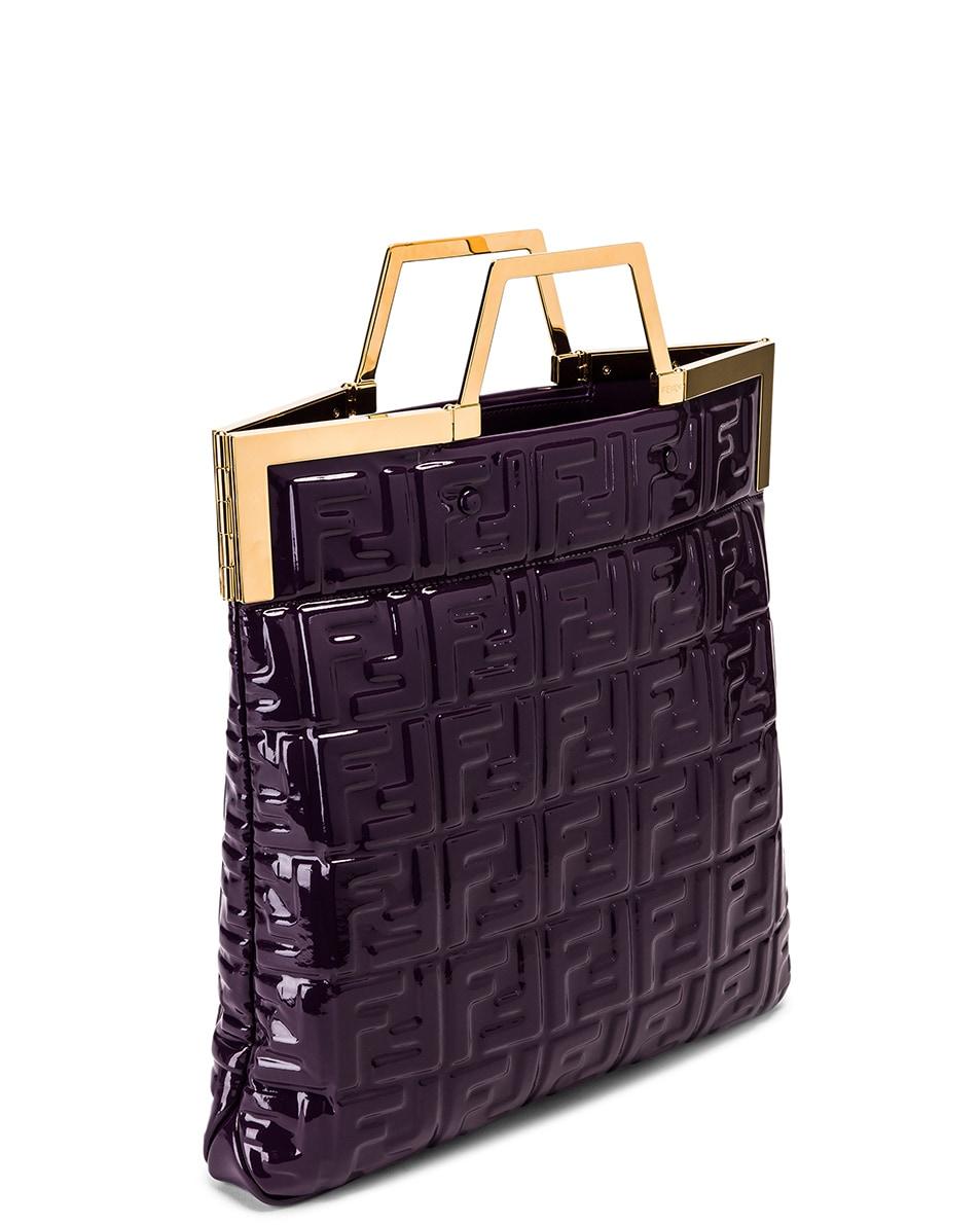 Image 5 of Fendi Regular Shopping Flap Bag in Purple & Gold