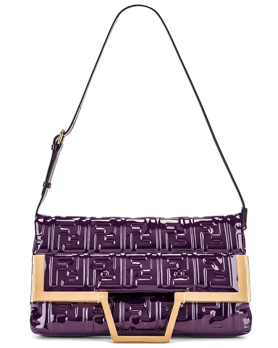 Image 6 of Fendi Regular Shopping Flap Bag in Purple & Gold