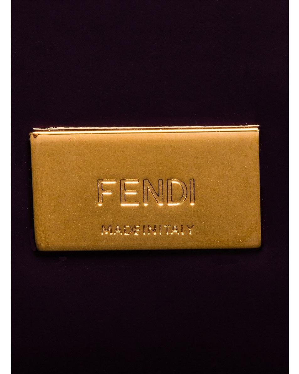 Image 7 of Fendi Regular Shopping Flap Bag in Purple & Gold
