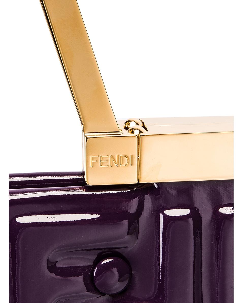 Image 8 of Fendi Regular Shopping Flap Bag in Purple & Gold