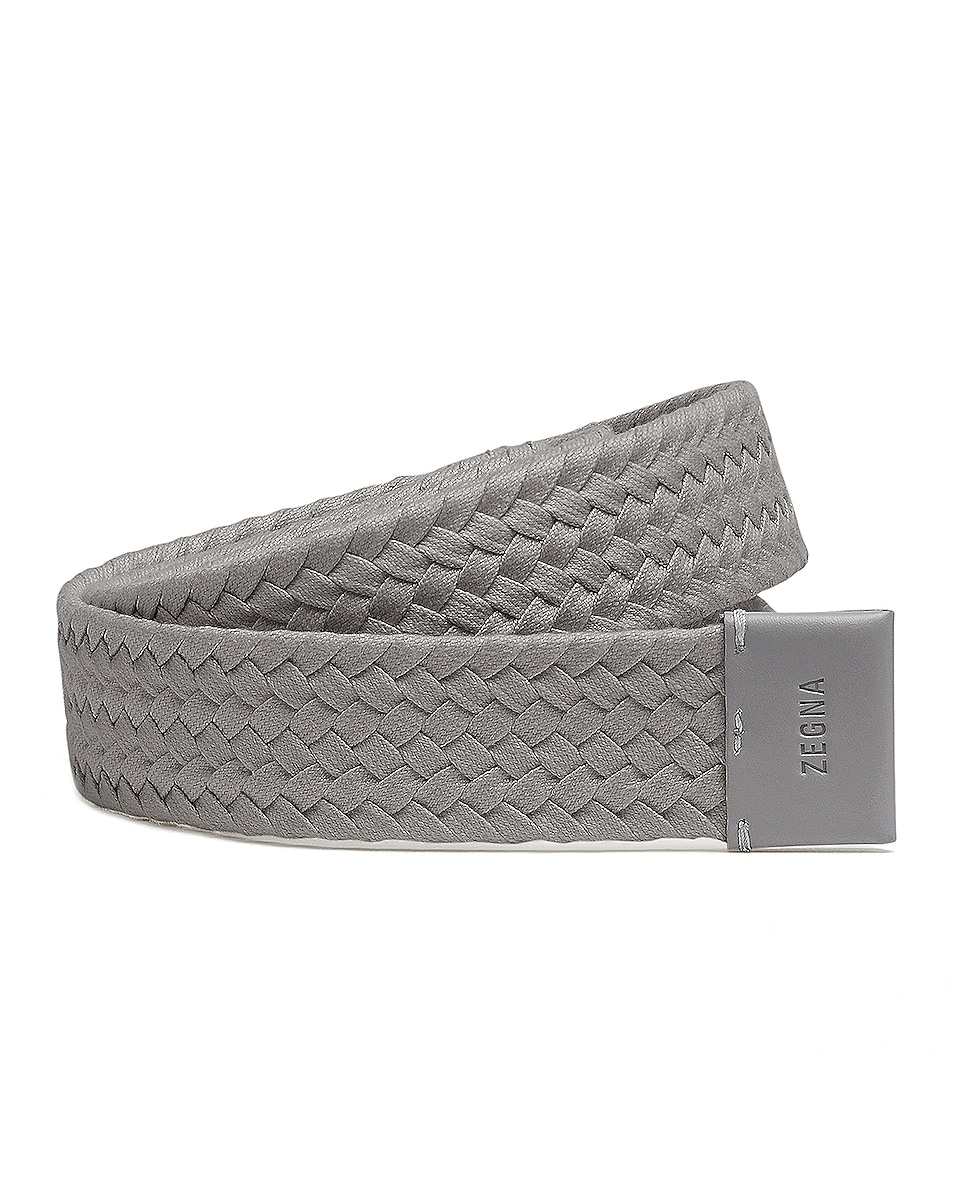 Image 1 of Fear of God Exclusively for Ermenegildo Zegna Smooth Calfskin Braided Leather Belt in Grey