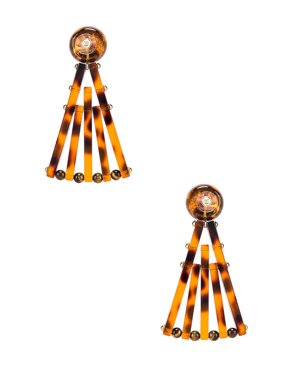 Image 4 of Cult Gaia Acrylic Fan Earrings in Tortoise