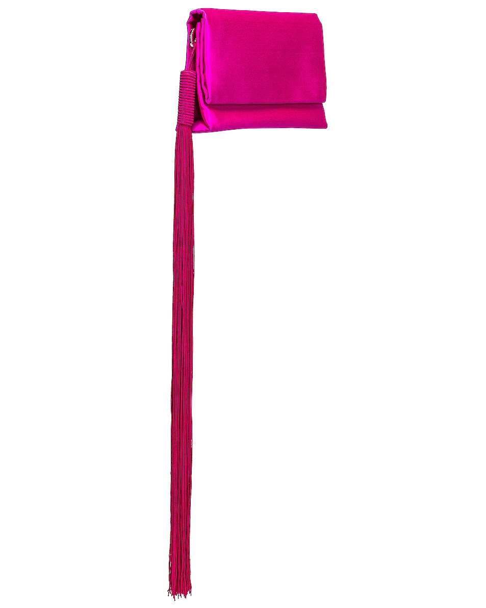 Image 3 of GALVAN Small Rectangle Tassel Bag in Fuchsia