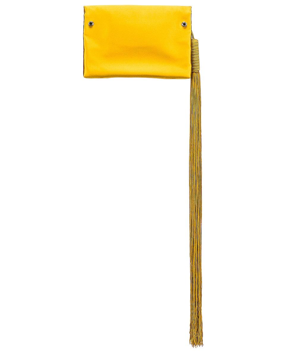 Image 2 of GALVAN Small Rectangle Tassel Bag in Mustard