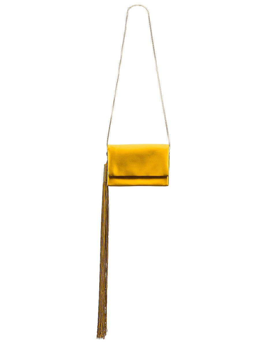 Image 5 of GALVAN Small Rectangle Tassel Bag in Mustard