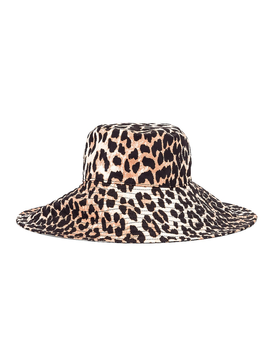 Image 1 of Ganni Tech Fabric Hat in Leopard