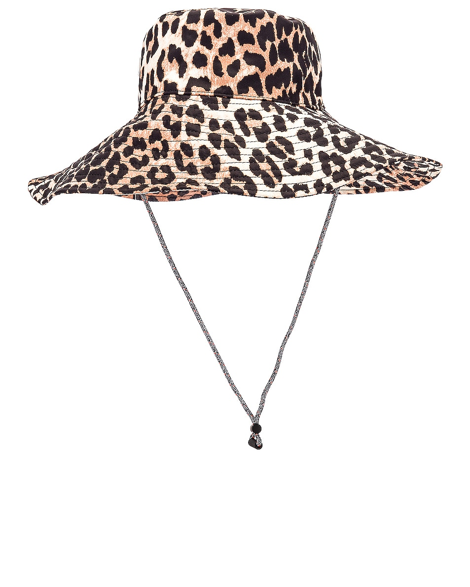 Image 3 of Ganni Tech Fabric Hat in Leopard