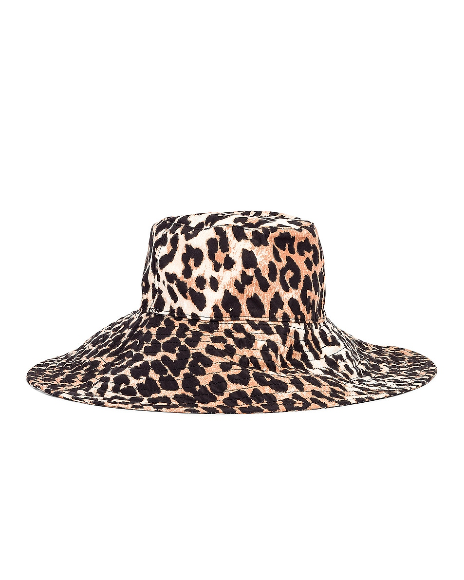 Image 5 of Ganni Tech Fabric Hat in Leopard