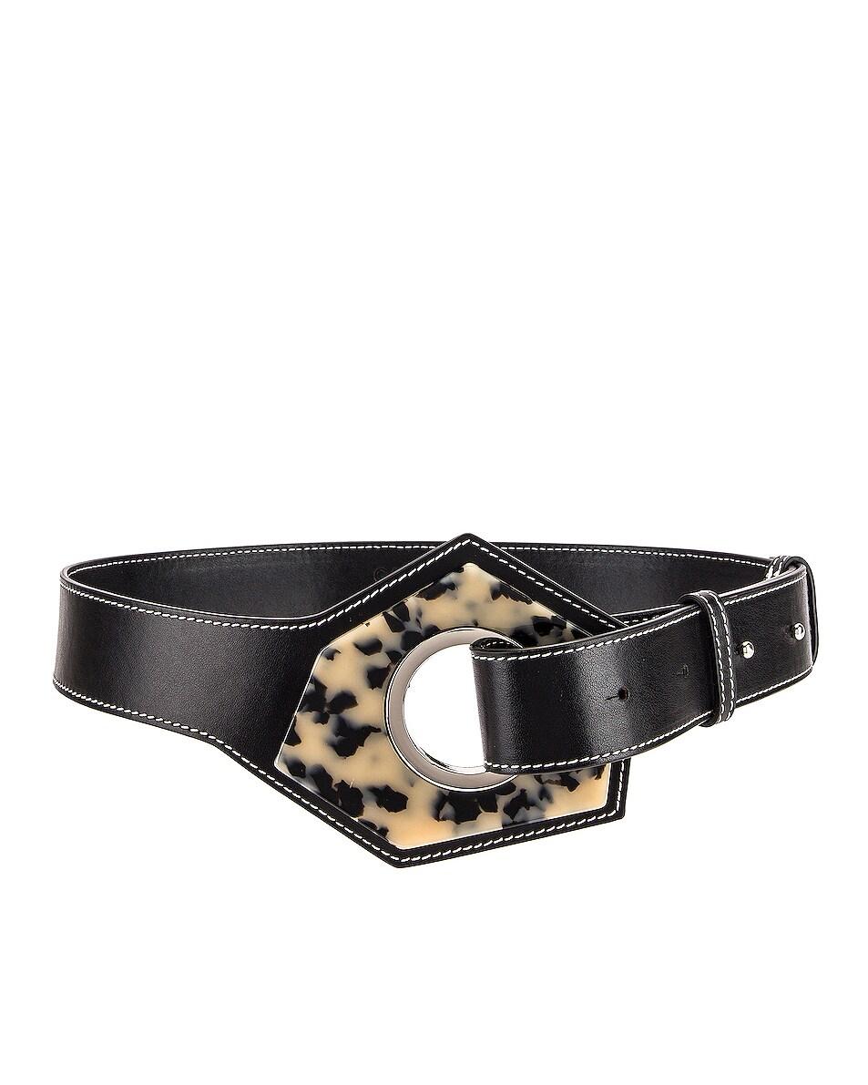 Image 1 of Ganni Leather Acetate Belt in Black