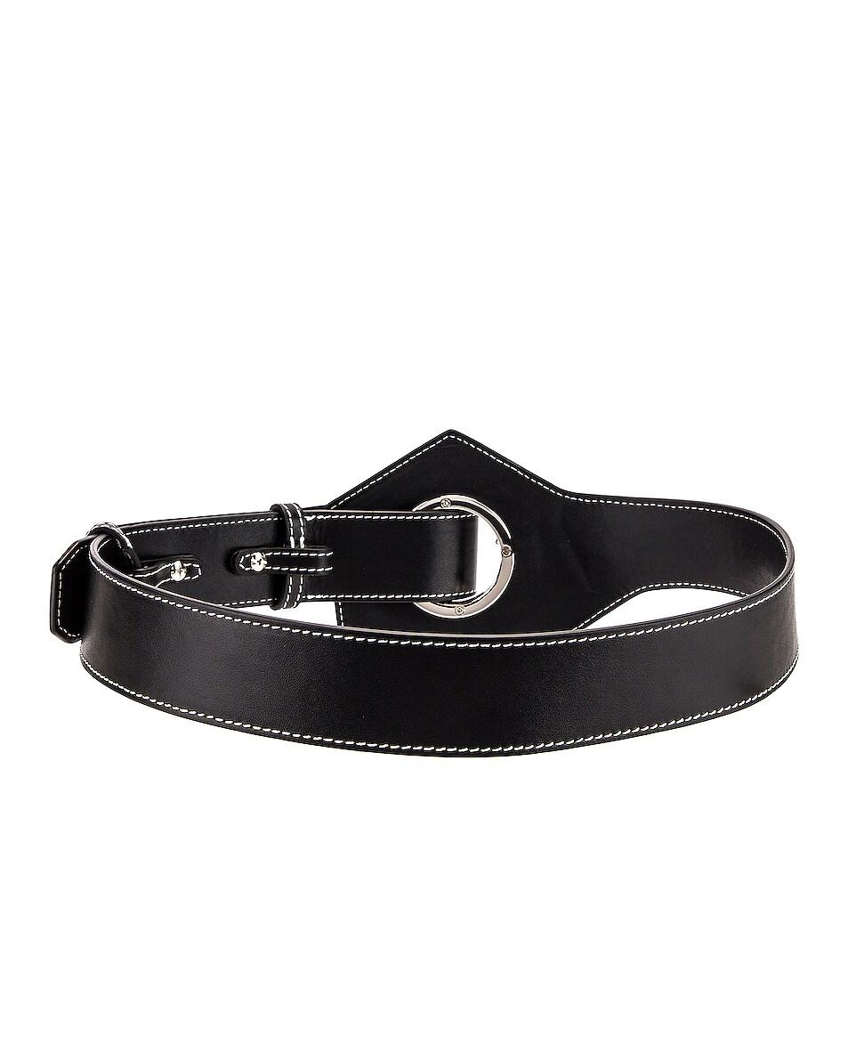 Image 2 of Ganni Leather Acetate Belt in Black