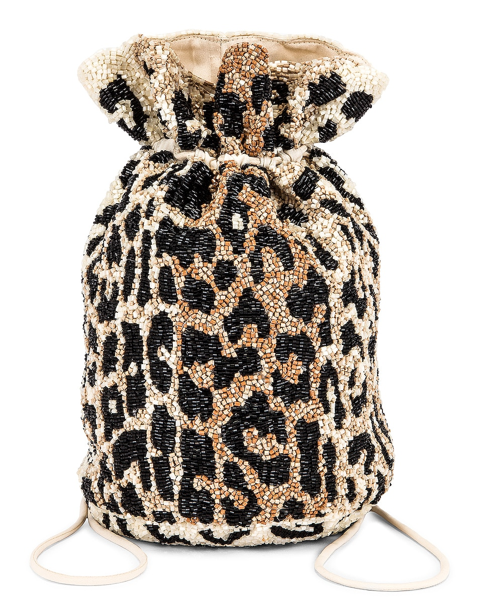 Image 1 of Ganni Hand Beaded Accessories Bag in Leopard