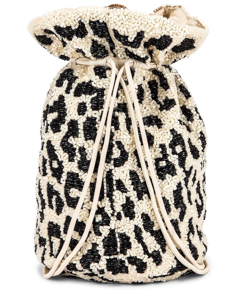Image 3 of Ganni Hand Beaded Accessories Bag in Leopard