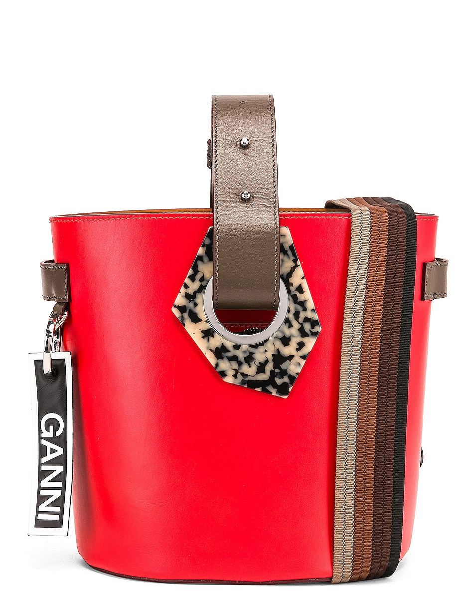 free shipping Ganni Leather Bag Fiery Red