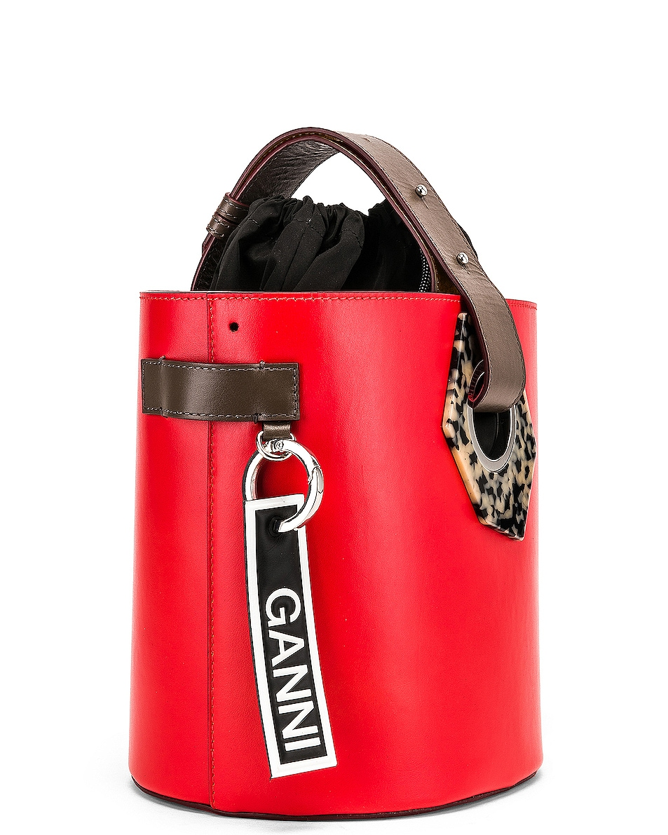 Image 4 of Ganni Leather Bag in Fiery Red