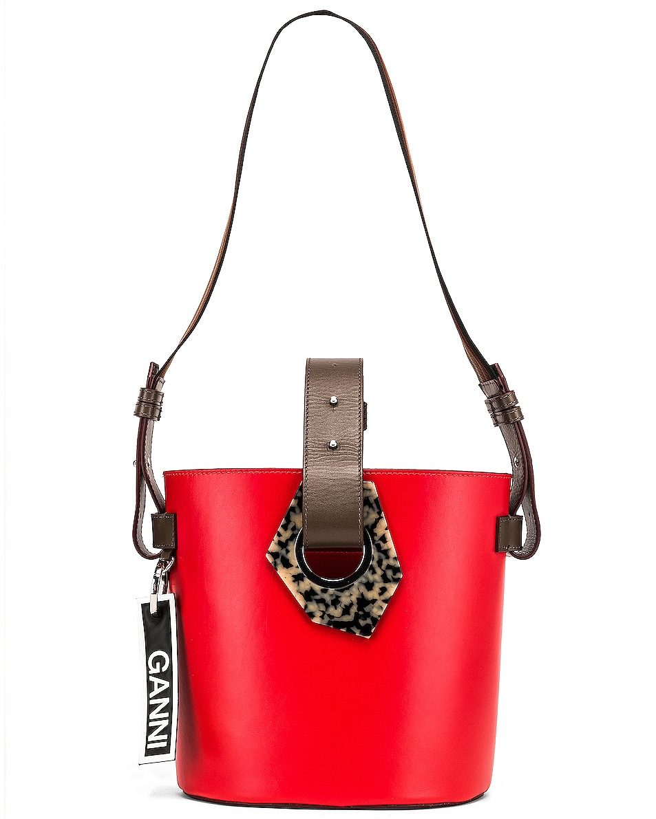 Image 6 of Ganni Leather Bag in Fiery Red