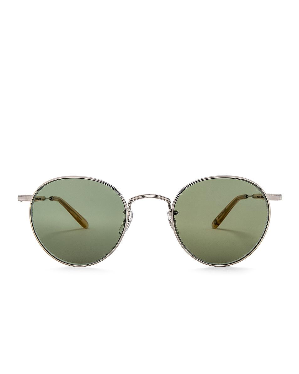 Image 1 of Garrett Leight Wilson M 49 in Silver & Blonde & Semi-Flat Green