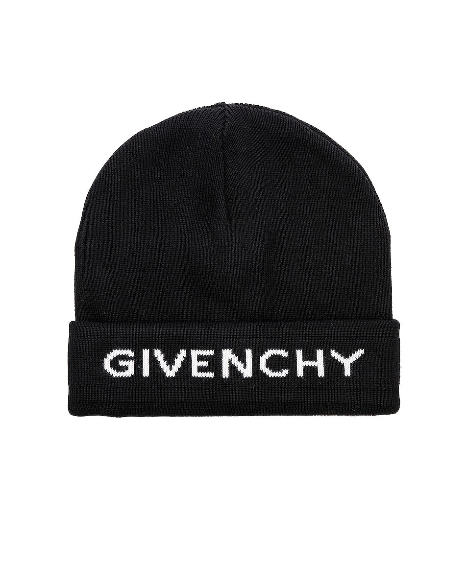 Image 1 of Givenchy Logo Beanie in Black